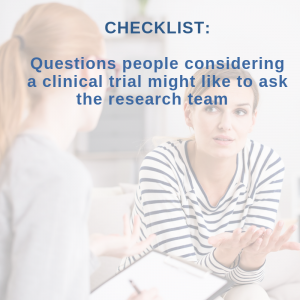 Checklist of clinical trial questions for people to ask researchers